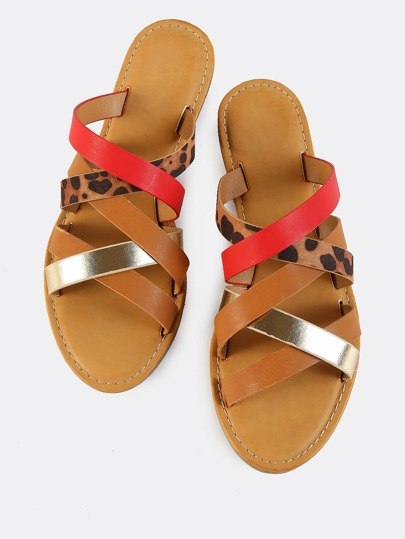 Strappy Cross Over Slides LEOPARD