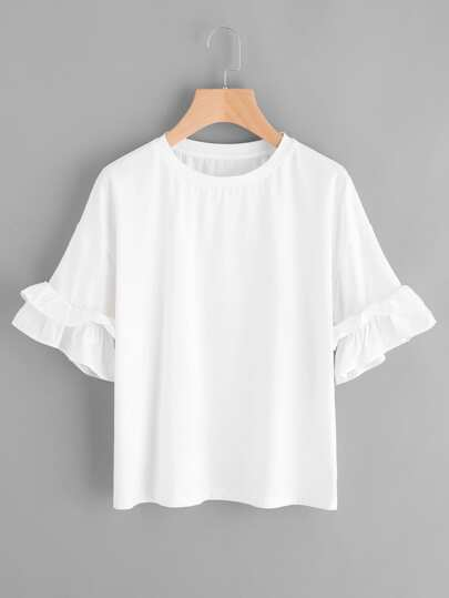 Drop Shoulder Layered Ruffle Sleeve Tee