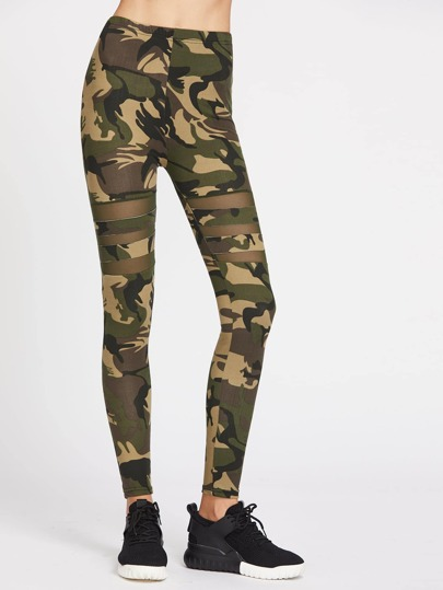 Camo Print Mesh Paneled Leggings