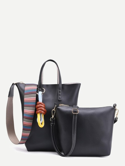 Contrast Strap PU Bag With Shoulder Bag