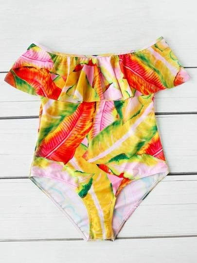 Leaf Print Flounce Layered Neckline One Piece Swimwear