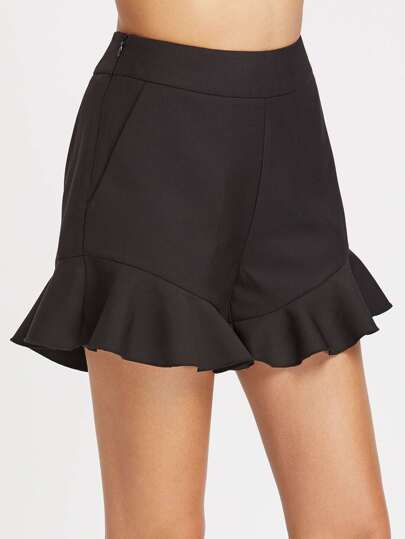 Frill Hem Side Zip Tailored Shorts With Slanted Pocket