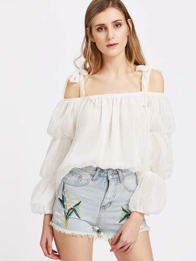 Bow Tie Cold Shoulder Puff Sleeve Top