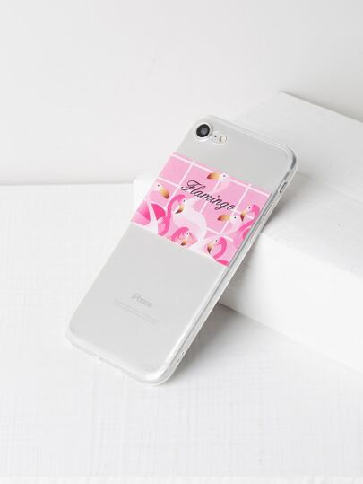 Funda para iPhone 7 suave con estampado de flamingo
