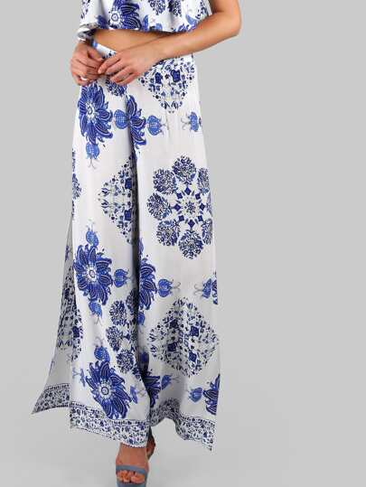 Paisley Print Long Slit Pants BLUE