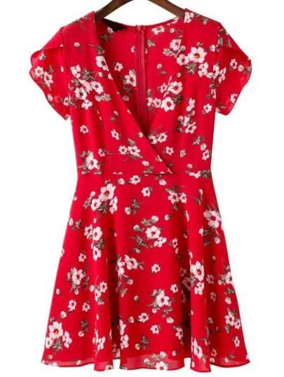 Plunging V-Neckline Floral Dress