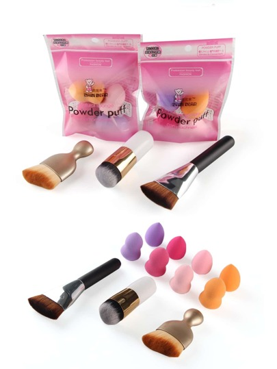 Chunky Makeup Brush And Puff Set