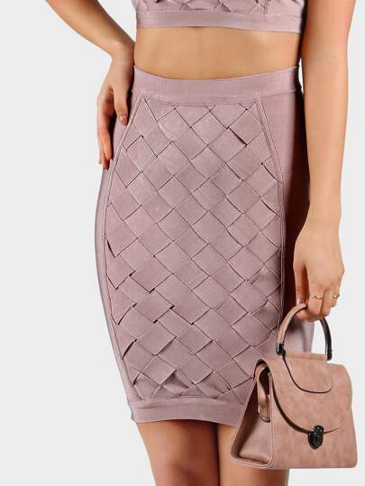 Bandage Weaved Pencil Skirt DUSTY ROSE