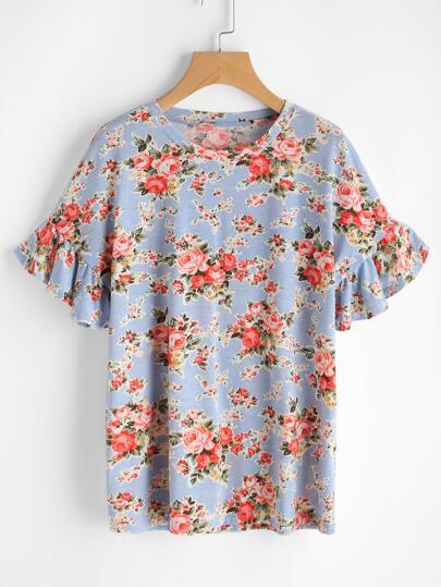 Camiseta de manga fruncido con estampado de margarita de los prados