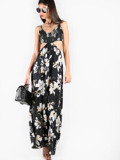 Side Cutout Floral Maxi Dress BLACK