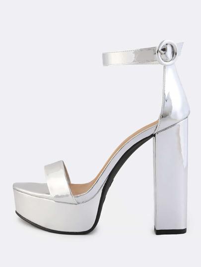 Ankle Strap Metallic Platform Heels SILVER