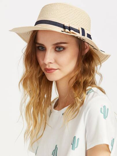 Letter Pattern Straw Hat With Bow Tie