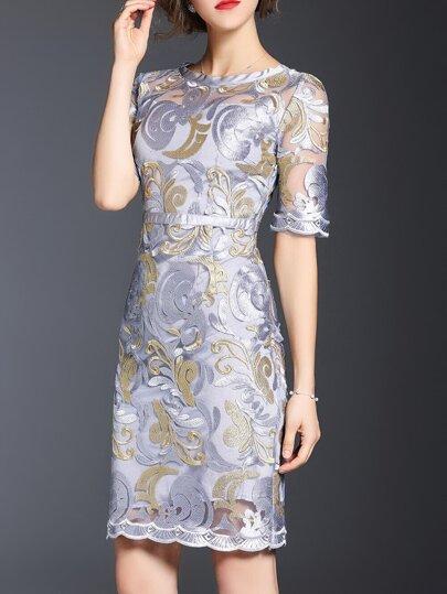 Grey Gauze Embroidered Sheath Dress