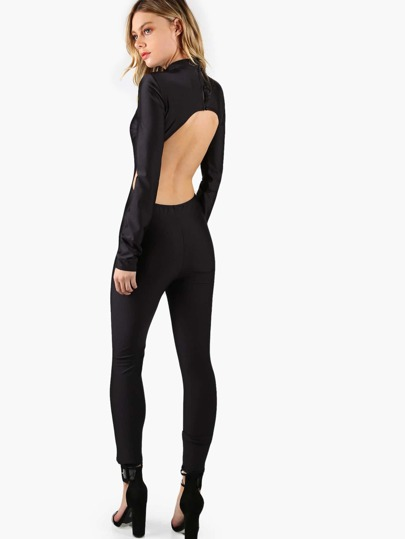 Black Mock Neck Long Sleeve Open Back Skinny Jumpsuit