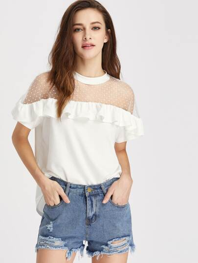 Dobby Mesh Shoulder Frill Trim Tee