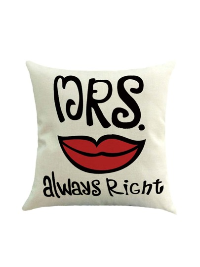 Contrast Lip Print Pillowcase Cover