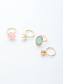 Colorful Various Shapes Elegant Rings Set 4PCS