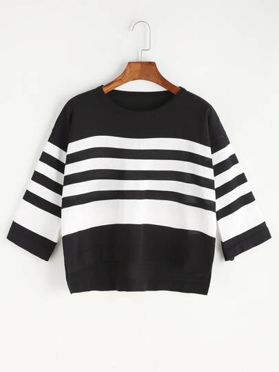 Pinstripe Slit Side Dip Hem Knit T-shirt