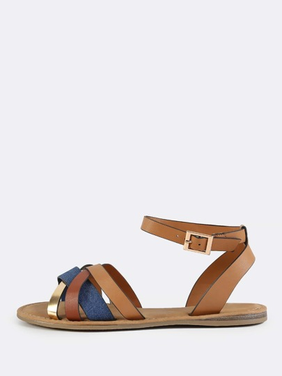 Multi Strap Denim Ankle Sandals BLUE DENIM