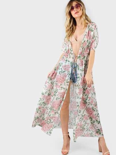 Cluster Print Dolman Sleeve Drawstring Waist Maxi Kimono
