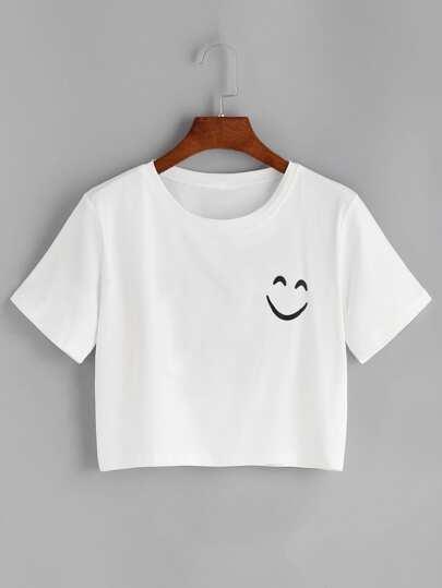 Smile Print Drop Shoulder Crop T-shirt