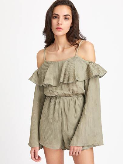 Flounce Cold Shoulder Fluted Sleeve Blouson Playsuit