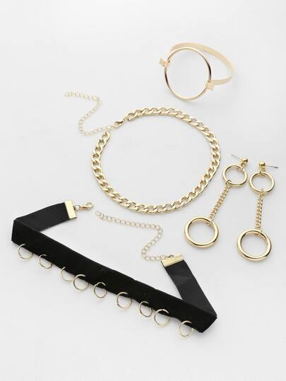 Ring Embellished Choker And Ring With Earrings