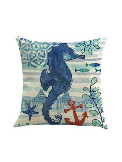 Funda de almohada con estampado de caballo de mar