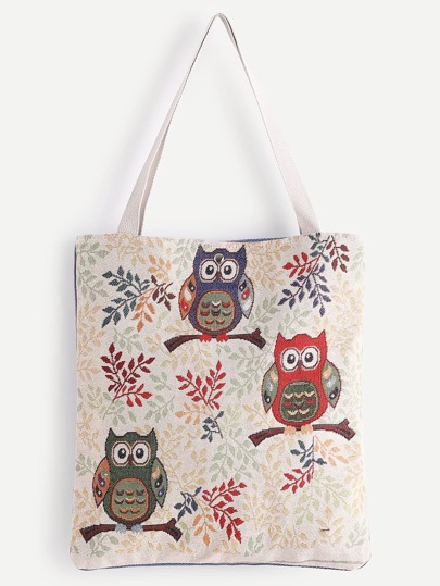 Three Owl Pattern Tote Bag