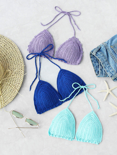 Random Color 1 PC Triangle Crochet Bikini Top