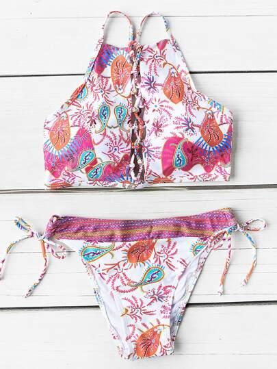 Set di bikini con stampa mista