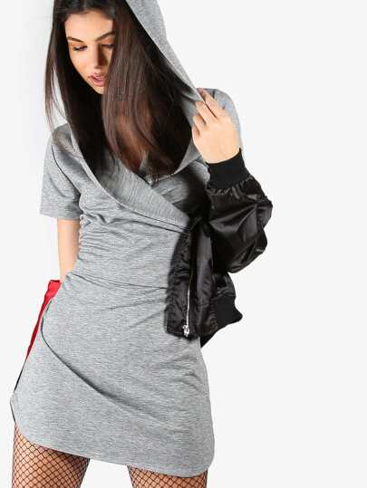 Wrap Top Hoodie Dress HEATHER GREY
