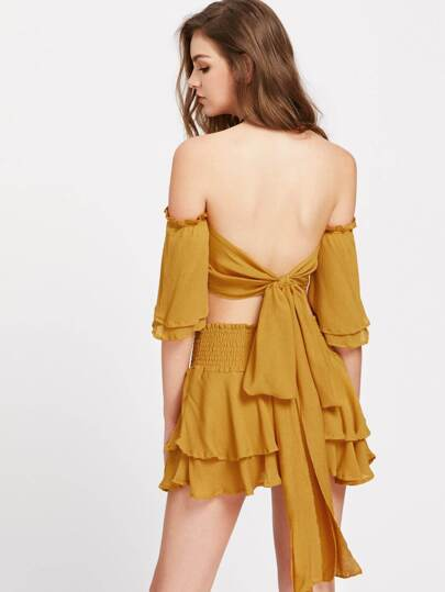 Bardot Tie Back Frill Trim Crop Top With Layered Skirt