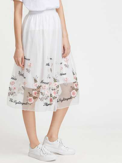 Floral Embroidered Organza Overlay Skirt
