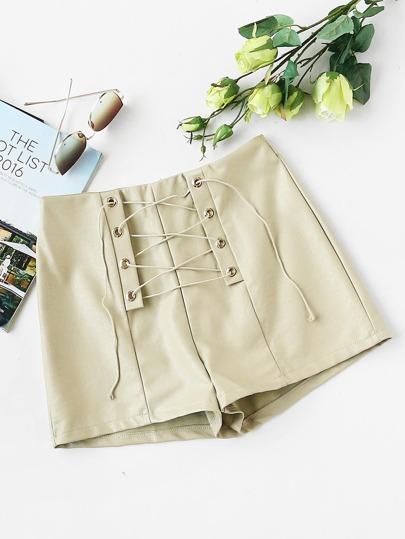 Shorts de PU de ojal con cordón