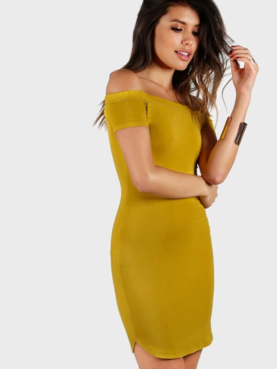 Bardot Neck Dolphin Hem Bodycon Dress