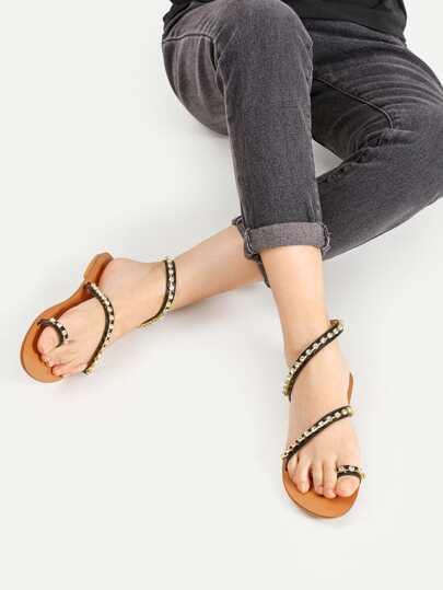 Rhinestone Embellished Toe Ring Flat Sandals