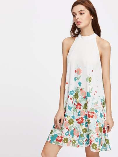 Floral Print Buttoned Keyhole Halter Neck Dress