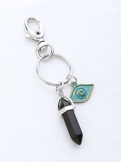 Contrast Stone And Eye Keychain