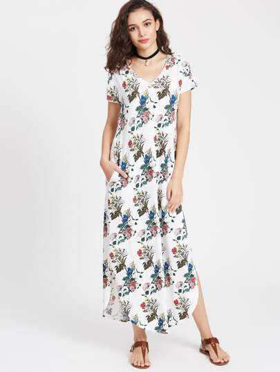 Botanical Print Dolphin Hem Tee Dress