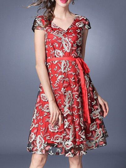 V Neck Gauze Embroidered Tie-Waist Dress