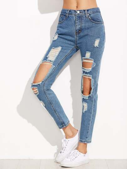 Distressed Knees Ankle Jeans