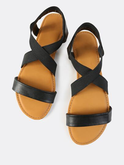 Open Toe Elastic Sandals BLACK