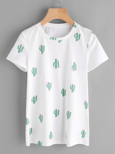 Allover Cactus Print Tee