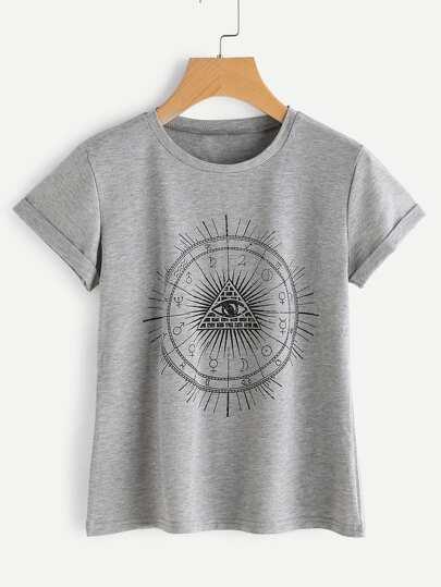 Camiseta de manga de doblez con estampado