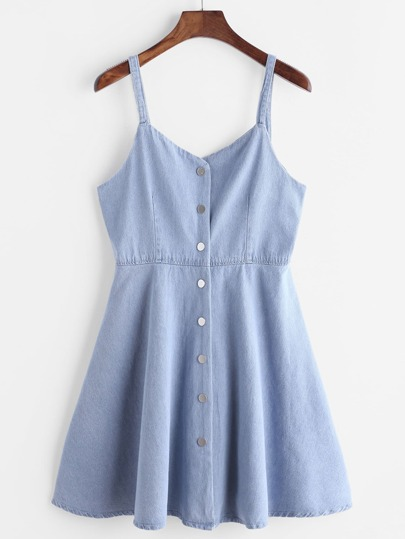 Single Breasted Slip Denim Dress
