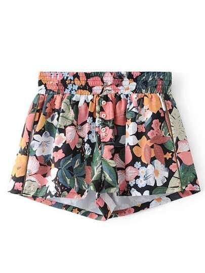 Pantaloncini floreale con elastico in vita