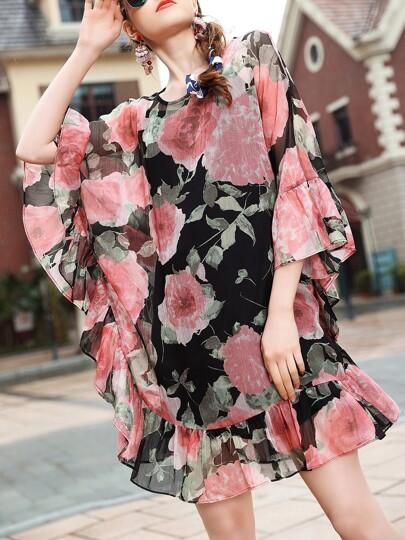 Flowers Print Ruffle Sleeve Shift Dress