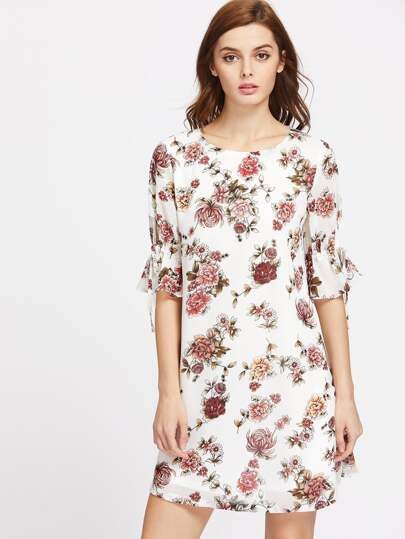 Elbow Sleeve Floral Tie Cuff Dress