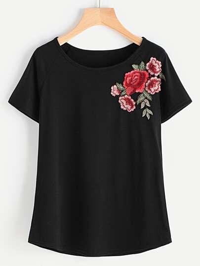 Raglan Hülsen Stickerei T-Shirt